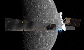 artist's impression of two spacecraft before their separation at the planet Mercury