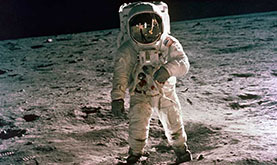 iconic photo of astronaut Buzz Aldrin in a spacesuit standing on the surface of the Moon
