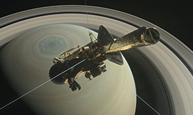 illustration of the Cassini probe orbiting high above the northern hemisphere of Saturn, with a hexagonal cloud pattern visible at planet's north pole