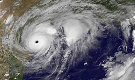 satellite image of a massive hurricane approaching the Texas coastline