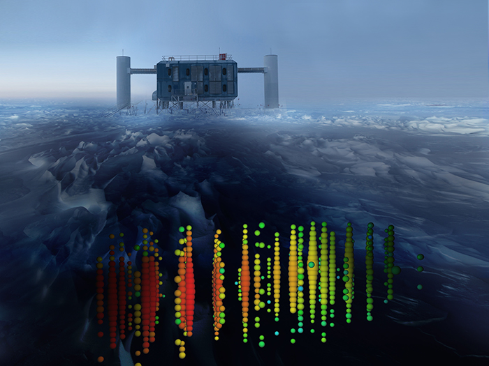 IceCube Neutrino Observatory's aboveground IceCube Lab in the background, with a neutrino detection event superimposed in the foreground represented by colored spheres