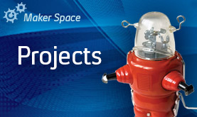 Maker Space Projects image with a small red robot