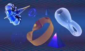 depiction of various mathematical shapes: breather, torus, cone, Klein bottle, pyramid, mobius strip and sphere
