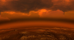 rocky orange planetary surface with thick red clouds above it
