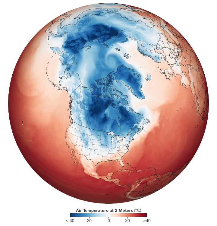 air temperature over North America