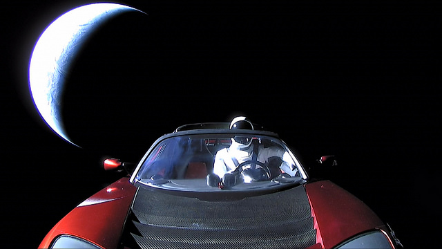 The Starman mannequin in space.