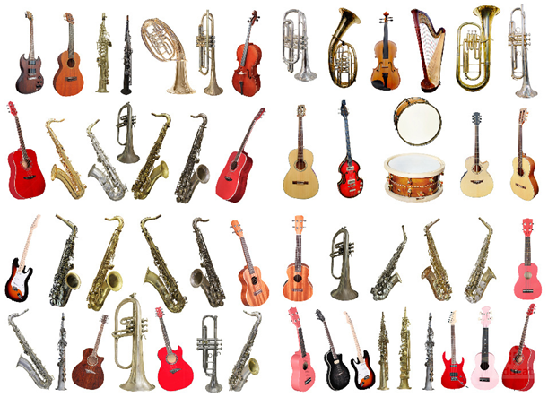 This is an image showing drawings of musical instruments