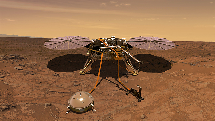 InSight on Mars, artist's depiction, with Martian pink sky and red soil.
