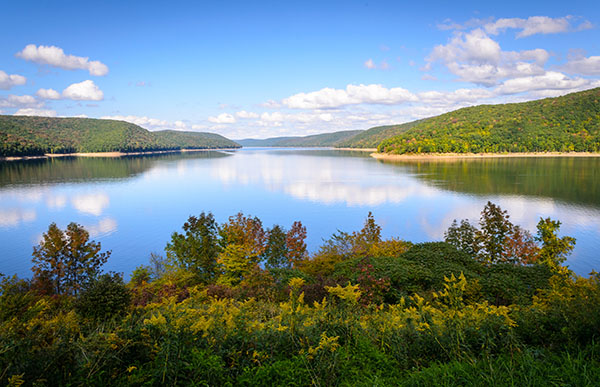 lake at Allegany State Park, New York, USA