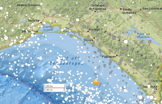 Epicenter of the earthquake is shown by the gold star