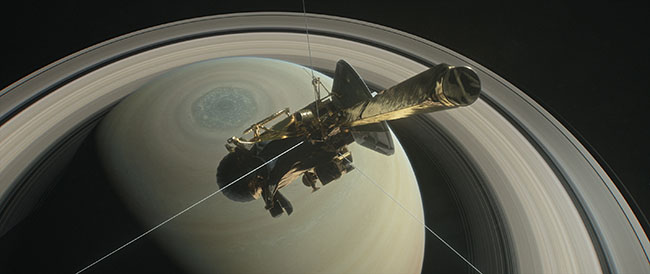 Cassini spacecraft orbiting Saturn.