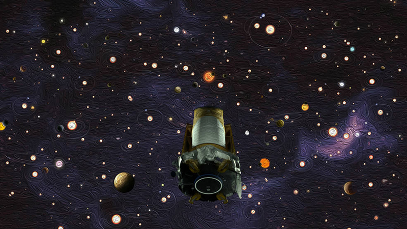 Illustration of Kepler in space with exoplanetary systems