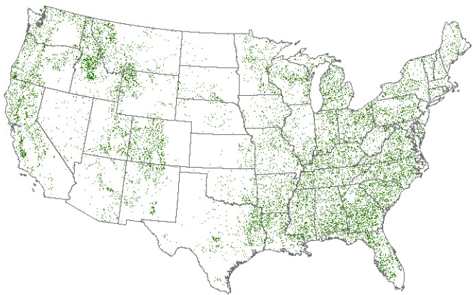 map showing reforestation opportunities in the United States