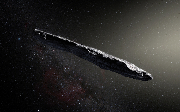 An artist's impression of the first interstellar asteroid, 'Oumuamua, showing its oblong shape.
