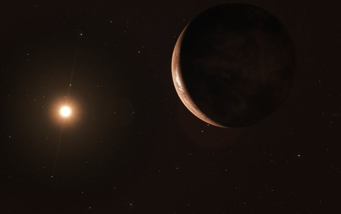 Artist's impression of a super-Earth planet in orbit around its host star