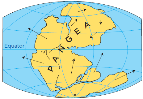 map of the Earth showing the breakup of Pangea