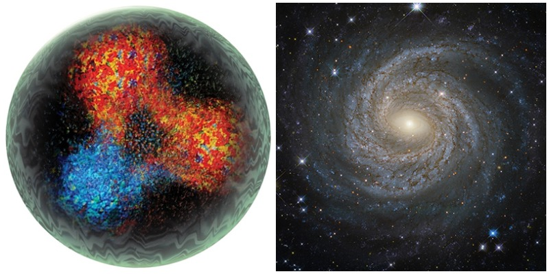 Scales of nature, from quarks to galaxies.