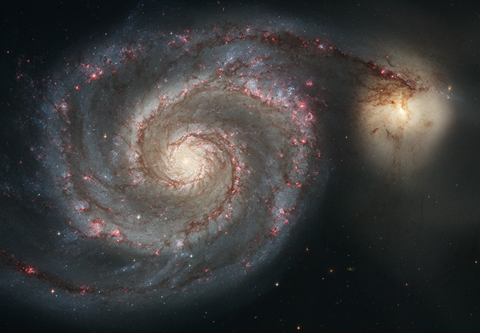 The Whirlpool Galaxy, so named for its classic spiral pattern.