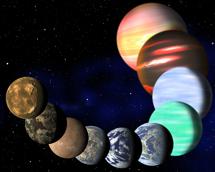 An artist's impression of a mere sampling of the planetary diversity expected to exist in nature, from small, rocky worlds to giant, gaseous worlds.