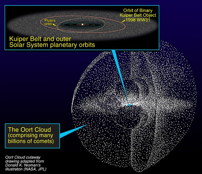 A rendering of the Kuiper Belt and Oort Cloud of objects in the outer solar system.