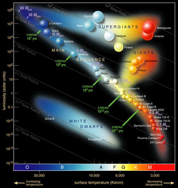 Illustrated Hertzsprung-Russell diagram, showing the main sequence of stars as well as the giants, supergiants, and white dwarfs that main sequence stars become.