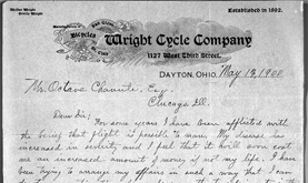 Wilbur Wright's letter to Octave Chanute